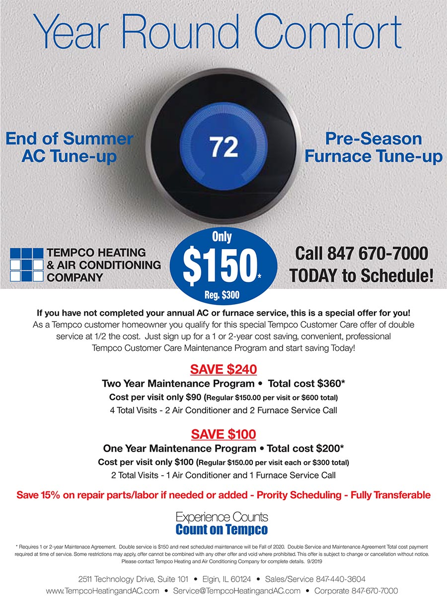 For information on Furnace installation near Schaumburg IL, email Tempco Heating and Air Conditioning.